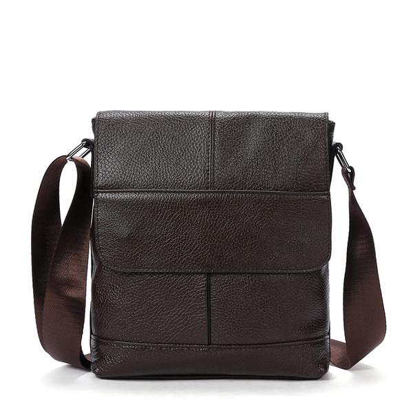 2018 Man Vertical Genuine Leather bag Man Messenger Business Men's Business Casual Handbags High Quality Shoulder Bags Male