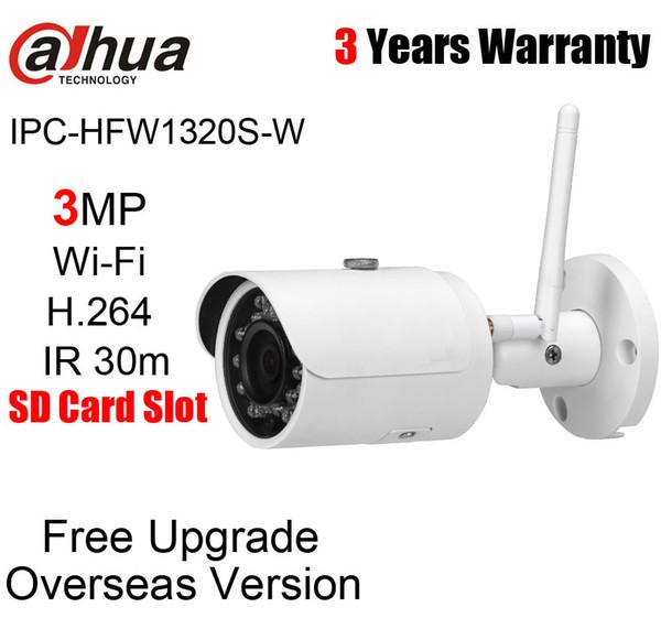 Dahua 3MP Mini Wifi IP Camera IPC-HFW1320S-W H.264 IR 30m IP67 Wireless Network Camera DH-IPC-HFW1320S-W Web Cam no logo