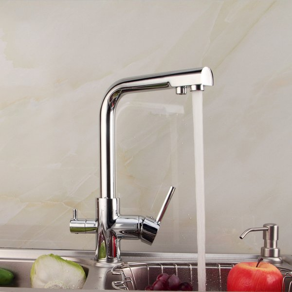 2015 New Chrome Ceramic Griferia Grifos Cocina Torneira Para Cozinha Kitchen Sink Faucet Pure All Copper Hot And Cold Double Tap