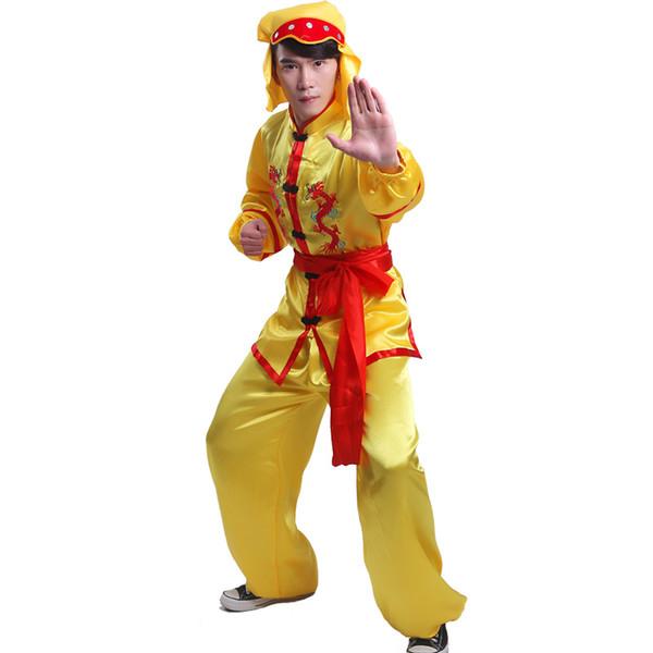 China Clásico bordado dragón frontera estilo popular actividades de grupo dragón león león trajes de baile trajes de artes marciales chaqueta + pantalones