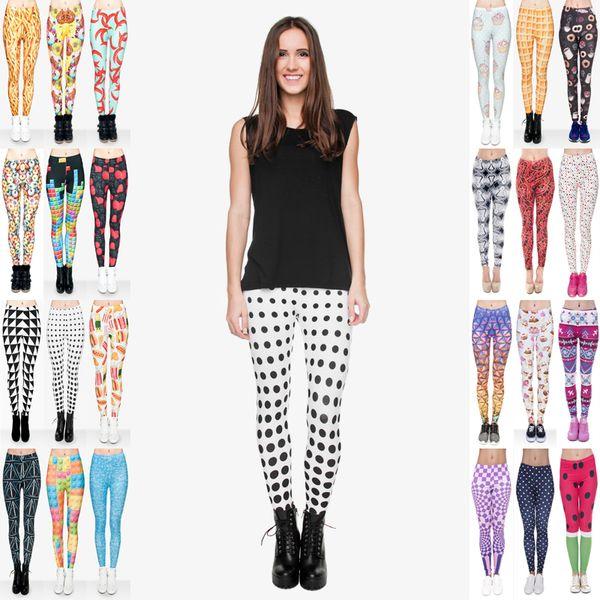 top popular Women Leggings Mix 32 Styles Mix Chips Donut Fast Food Comix Pimiento Doughnut Tetris Geometric Grid Dot Triangles 3D Print Pants (JL065) 2019