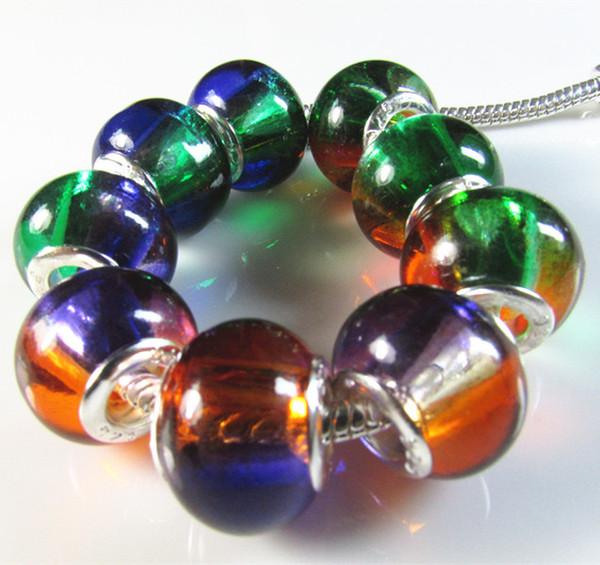 100pcs / lot Double couleur changement progressif transparent gros trou charme perles ajustement bracelet européen diapositive verre espaceur perle