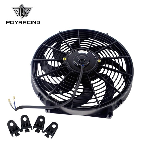 """top popular PQY - 14 Inch Universal 12V 90W Slim Reversible Electric Radiator AUTO FAN Push Pull With mounting kit Type S 14"""" PQY-FAN14 2021"""