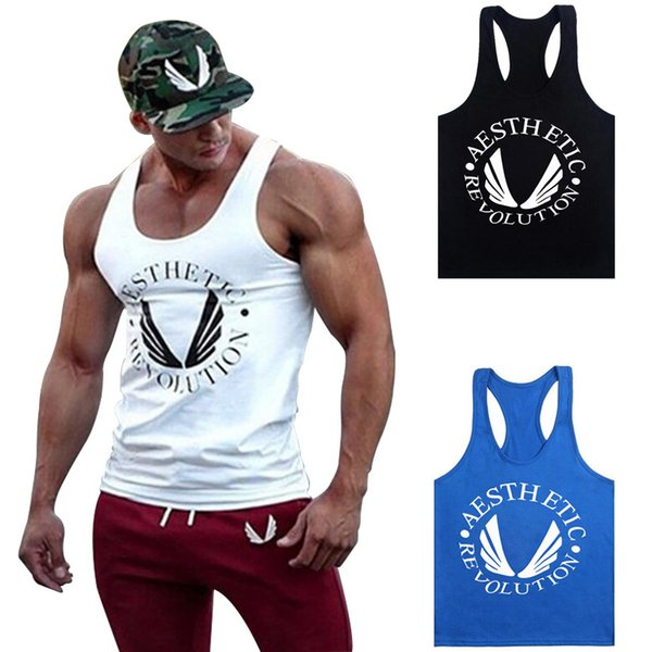 best selling Fashion Men Bodybuilding Clothing Tank Tops Gyms Muscle Stringer Singlets Fittnes Vest Shirt Musclewear Y Back Racer B -03