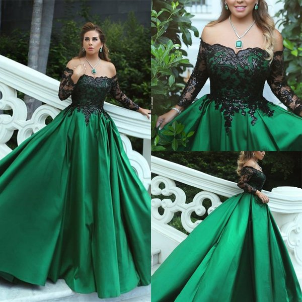 Black Green Long Evening Dresses Lace Long Sleeve Evening Gowns Off Shoulder A Line Satin Women Party Gowns Special Occasion Dress Kleider