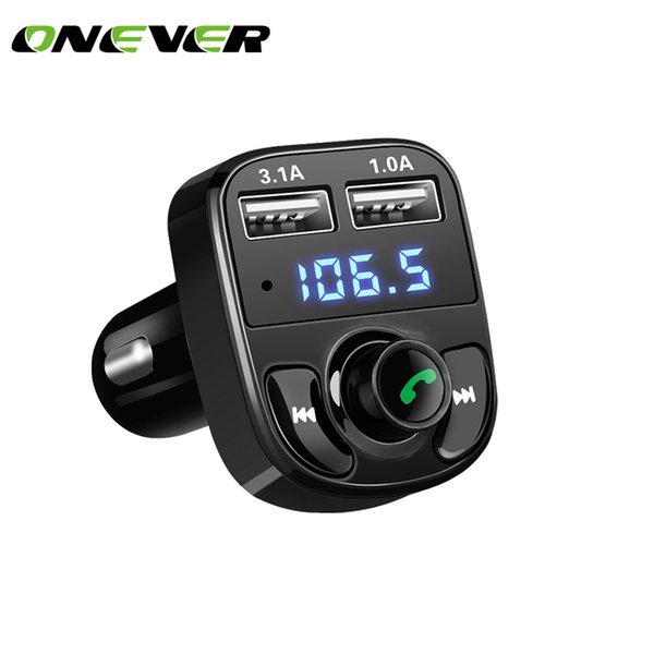 kit reproductor de mp3 inalámbrico Onever Car Kit Bluetooth Reproductor de MP3 Llamadas con manos libres Transmisor inalámbrico de radio Adaptador de radio DC 12-24 V con