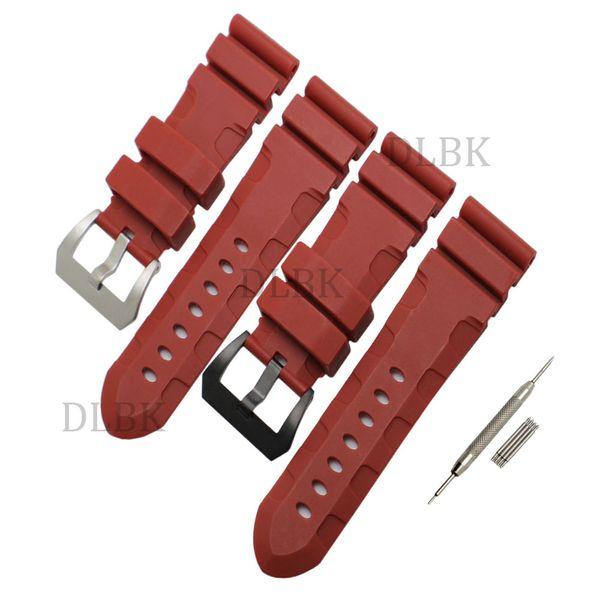 24mm (Buckle 22mm) Männer Rot Tauchen Silikon Gummi Uhrenarmband Strap Sport Armband Strap Edelstahl Schnalle für Panerai LUMINOR
