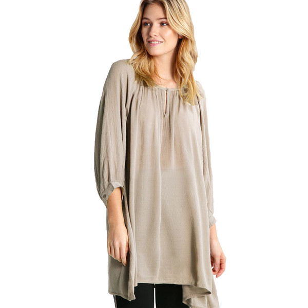 Women Loose Long Chiffon Blouse Solor Color Asymmetric Hem Women's Shirt Three Quarter Sleeve Buttons Long Casual Tops Clothing