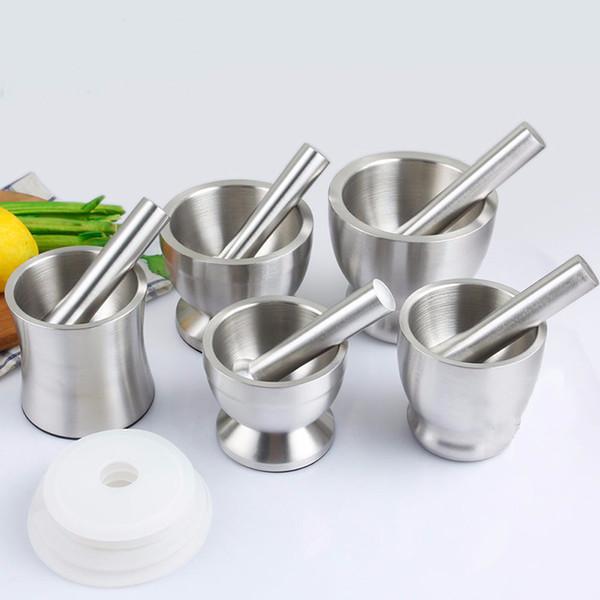 top popular Garlic Grinder Practical Stainless Steel Mortar and Pestle Kitchen Garlic Herb Mills Grinder Bowl Kitchen Cooking Tool WX9-357 2021