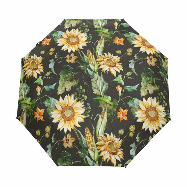 Oil Painting Sunflower Women Umbrella Three Folding Automatic Umbrella Anti-UV Sun/Rain Umbrellas Parasol Cute Paraguas