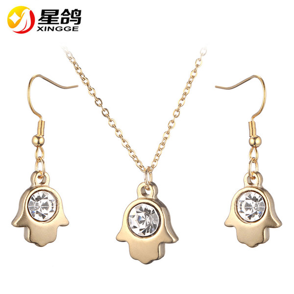 hamsa Hand of Fatima Charm silver/gold color stainless steel Necklace Dangle Earrings Jewelry Set For Women Accessories