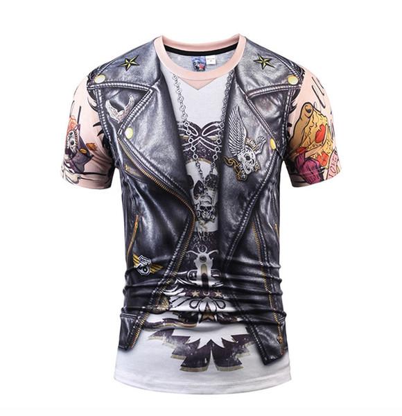 Erkekler s T-shirt 809 m-xxxl 2018 yaz yeni yaratıcı dijital sahte iki adet PU deri 3D baskı T-shirt kısa kollu erkek giyim Kafatası