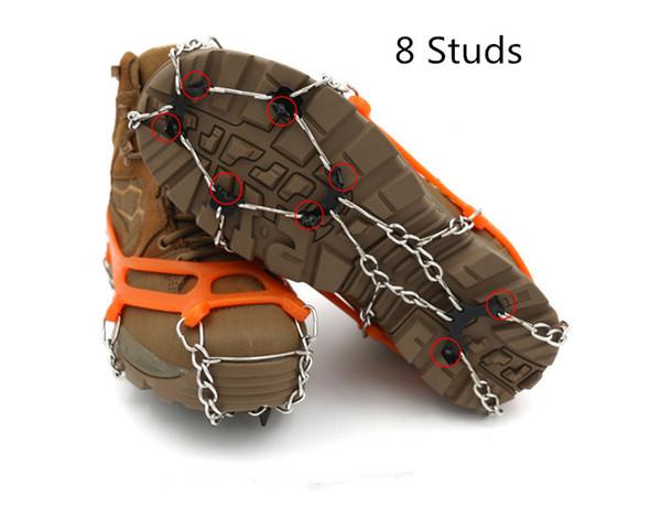 8-Stud Universal Ice antideslizante Snow Shoe Boots Spikes Grips Crampons Invierno escalada antideslizante cubierta de zapatos (2 colores)
