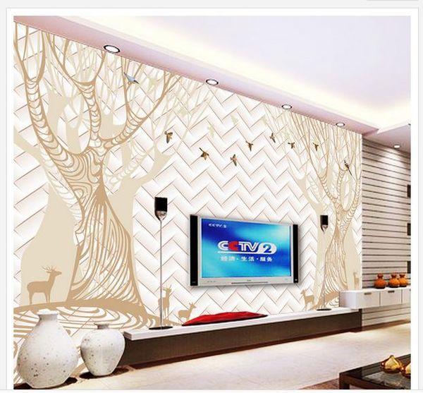 Resumen de los árboles del bosque pájaro ciervo 3D TV fondo de la pared murales 3d papel tapiz para sala de estar