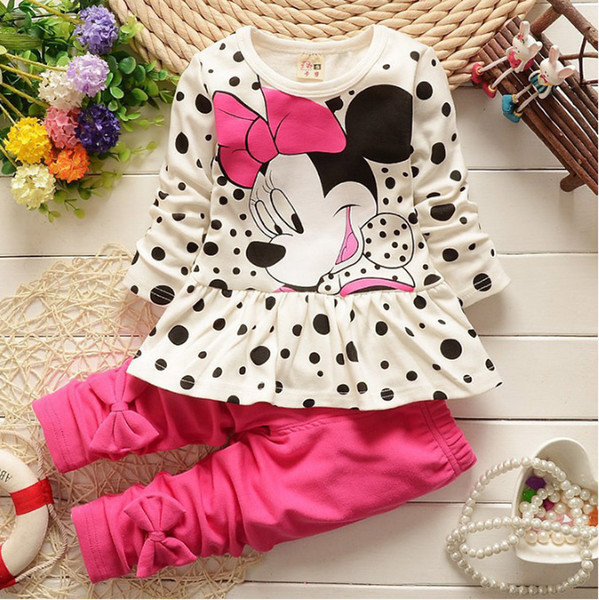 Baby Girl Clothes 2018 Spring Autumn Cartoon Polka Dot Long Sleeved Dress Tops + Leggings 2PCS Outfits Kids Bebes Jogging Suits Y18102207