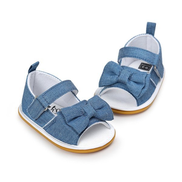 2017 Newdesign Baby Girl Gingham Or Stripe Butterfly-knot Hook & Loop Flat Heel Summer Sandals For (0-18) Months Baby