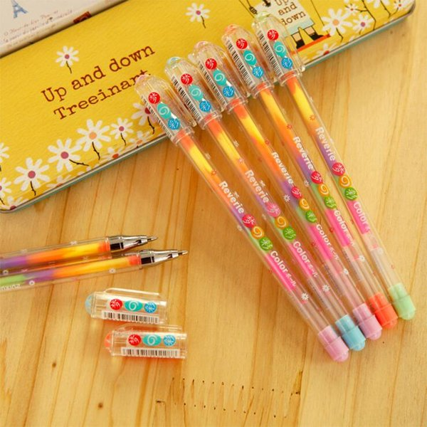 Ellen Brook 12 Pieces Korean Stationery Kawaii Cute Lovely Candy Color Gel Pens Student School Supplies 1 Pcs with 6 Colors