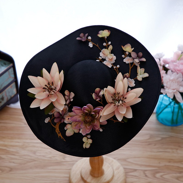 2018 New Arrival Black Ladies Church Hats with Pretty Colorful Hand-made Flowers Bridal Wedding Hats Kentucky Derby Hats