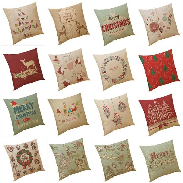top popular New Christmas Gift Series Pillow Covers 18 Styles Company Promotional Advertising Gifts Can Be Printed Logo Free Customized Any Pattern 2019
