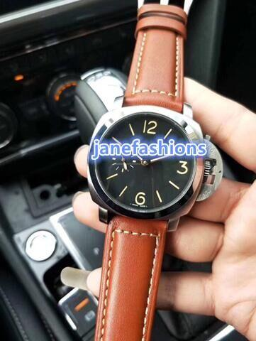 orologio sportivo completamente automatico sportivo pelle colore guarda la vigilanza di modo degli uomini di trasporto libero retro