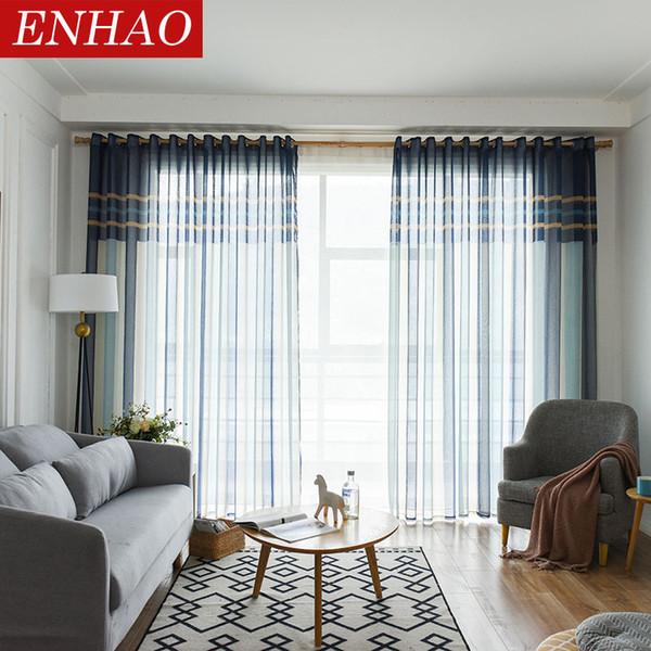 Acquista ENHAO Modern Striped Tulle Tende Soggiorno Camera Da Letto ...