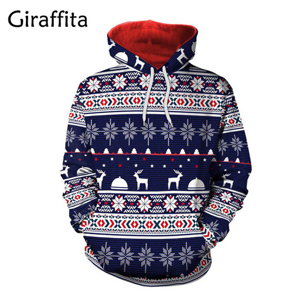 2019 Snowflake Printed Female Hoodies Sweatshirts Harajuku Sweatwear Tracksuit Couples Lovers Pullovers Christmas Family Clothing
