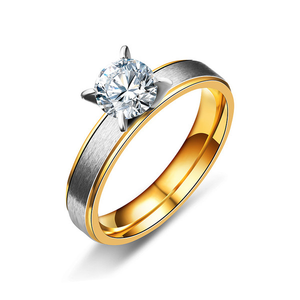 Diamond Cubic Zirconia Ring Gold Stainless Steel Couple Wedding Rings Crystal Ring Fashion Jewelry Gift for Men Women Drop Shipping