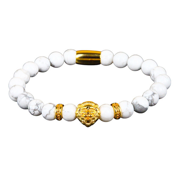 8mm Natural White TuequoiseS Howlite Stone Bead Rose Gold Silver Color Lion Head Charm Spacer Standard Bracelets For Man