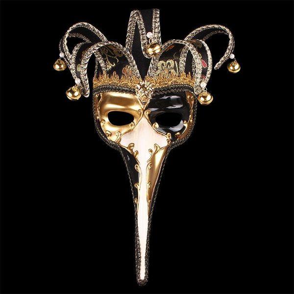 Длинный нос половина Маска с маленькими колокольчиками венецианские маскарадные маски для Рождества Хэллоуин День декора поставки мода 45wpa BB