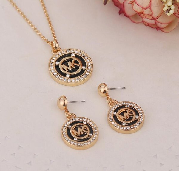 Brand m Letters Necklace Pendant Sweater Chain Earrings set Women Girl Wedding Fashion Jewelry Accessory Xmas Birthday Gift