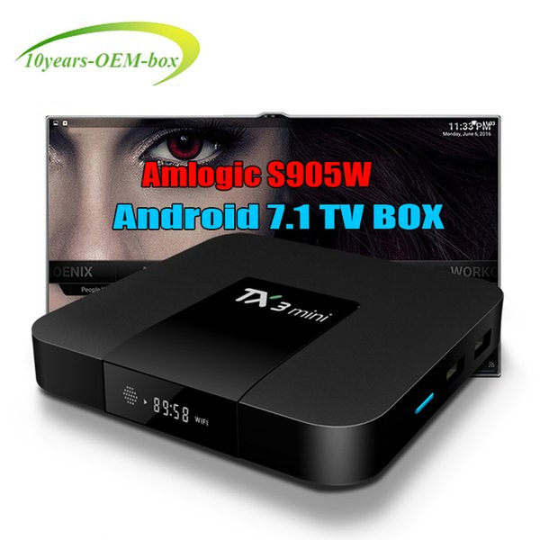 Hot OEM Factory TX3 Mini TV Box Android 7.1 Amlogic S905W 2.4GHz WiFi Set UP Box 1GB 8G Support H.265 4K Media Player