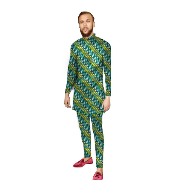 Fashion African Men Print Clothing Men Tops+Trousers Sets Clothing Dance Festive Costume Africa Customized