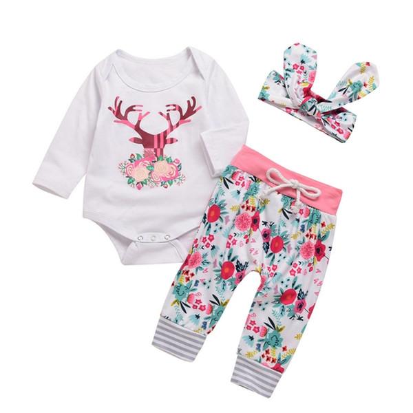 Новорожденных девочек рождественские наряды лося с цветочным принтом детская одежда белый с длинным рукавом 0-18 м хлопок 3-х частей ползунки брюки повязка на голову комплекты одежды