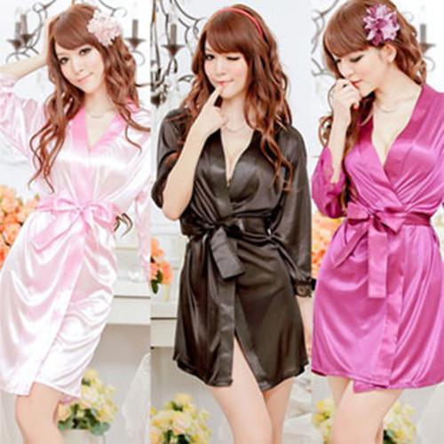Damas para mujer Liso liso rayón de seda túnica corta Pijama Lencería Camisón Kimono Bata pjs Vestido de mujer Bata de baño Babydoll Lencería + Tanga