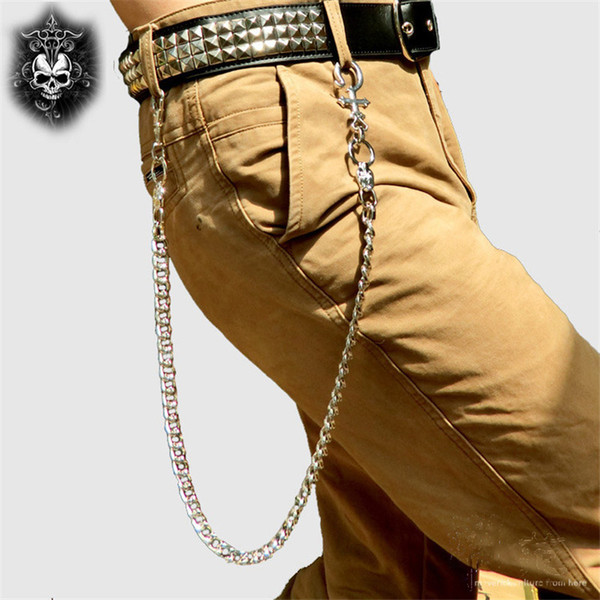 Fashion Punk Rock Hip-hop Trendy Belt Waist Chain Male Cross Pants Chain Men Jeans Punk Silver Metal Pants Wallet Chains DR50