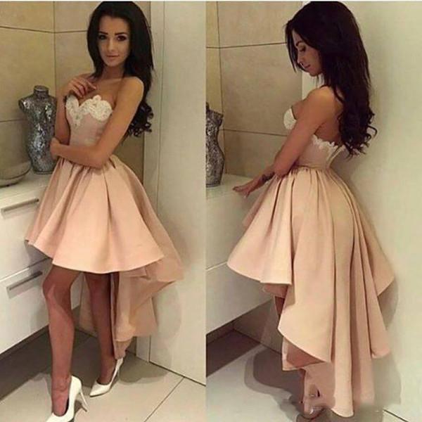 Großhandel 2018 High Low Short Homecoming Kleid Ligth Pink Weiß ...