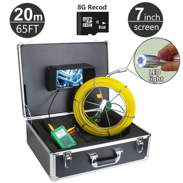 20 m / 65ft sistema di telecamere di ispezione tubo di fognatura dvr funzione con scheda da 8 GB 7