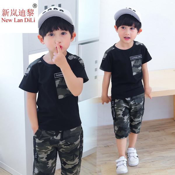2018 crianças de verão camuflagem roupas menino t-shirt + shorts 2 pcs conjunto menina algodão exército verde esportes imprimir calça terno