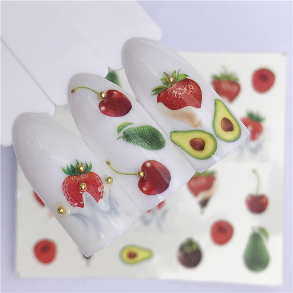 10PCS Summer Ice Cream Fruit Strawberry Cherry Cake Nail Art Water Transfer Sticker Decor Slider Decal Manicure Tools A1226-1459
