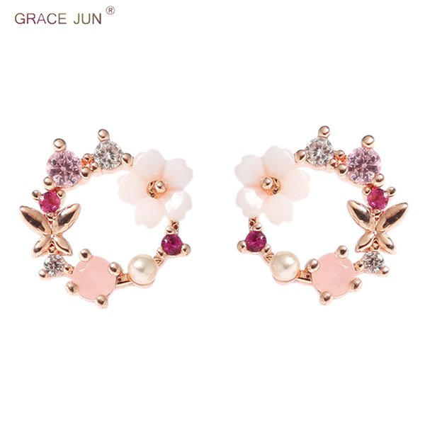 GRACE JUN Rhinestone Flower Butterfly Small Round Circle Clip Earrings and Pierced Earrings Charm Pearl CZ Wedding Party Jewelry