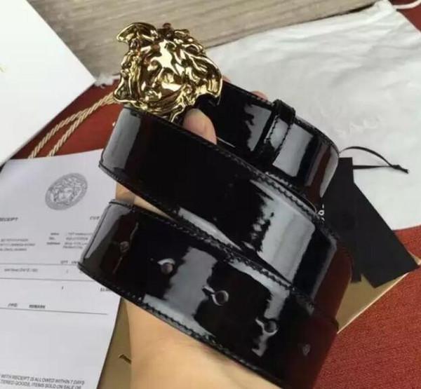 Cinturón oficial de charol para hombre con caja Cinturón de hebilla reversible Oficial con caja
