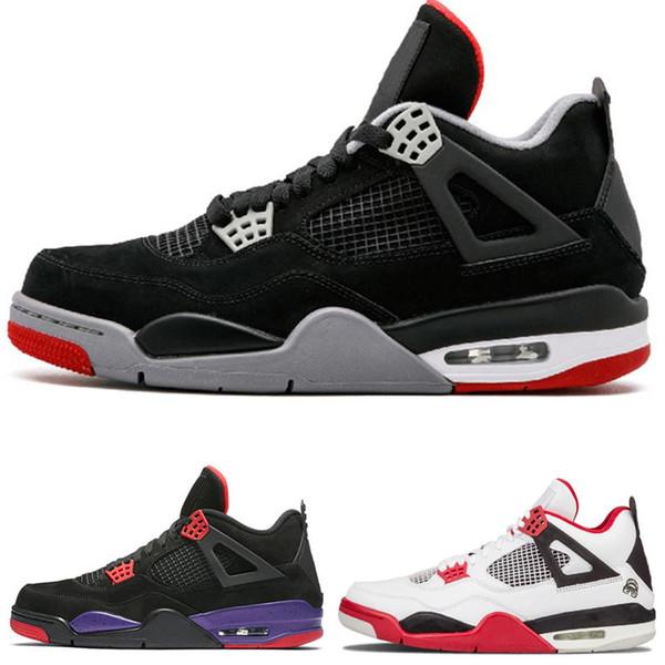 4 4s Sapatos de Basquete homens on-line Puro Dinheiro Realeza Cimento Raptors Gato preto Bred Fire Red mens formadores Sapatilhas Dos Esportes venda com desconto sapatos