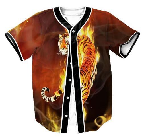 Summer Short Sleeve Clothing 3D Print Fire Tiger Graphic Beseball Jersey T Shirt Design Fashion Men/Women Button Cardigan Tops