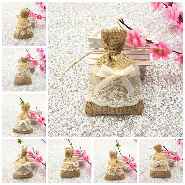Multi Styles Linen Lace Gift Packing String Bag Bundle Pouch Wedding Party Decoration Kids Favour Wrap Candy Bag NNA591 3000pcs