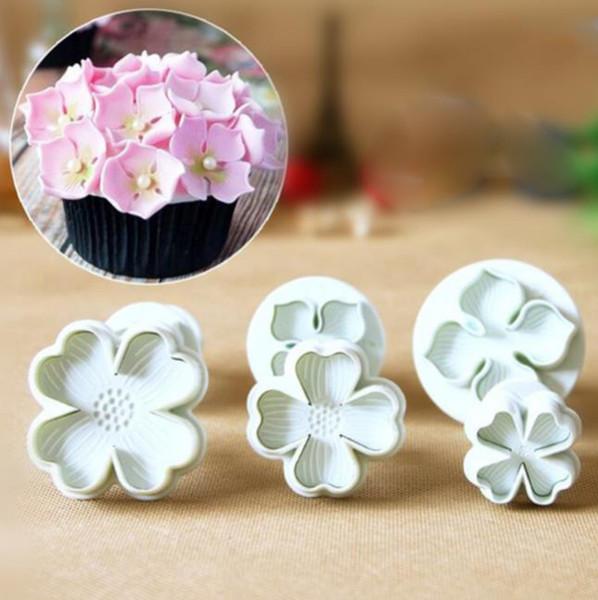 3pcs/set Hydrangea Fondant Cake Mould Decorating Sugar Craft Plunger Cutter Flower Mold Free Shipping