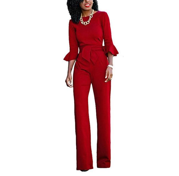 New 2017 Women EleJumpsuits Long Sleeve Ruffles Jumpsuit Romper Wide Leg Pants Trousers Clubwear