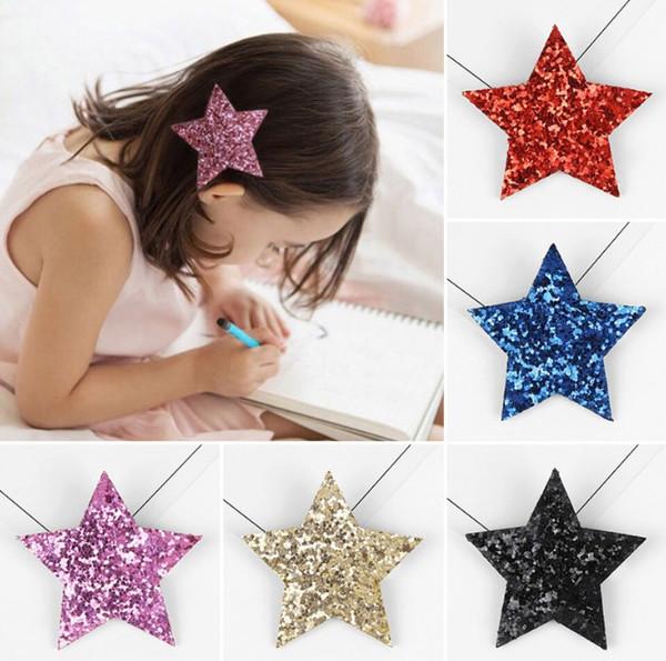 New 2018 Fashion Designer Hairpin For Little Girl Cute Shine Headband Star Hair Clip Children Barrettes Headwear Princess Hair Accessories