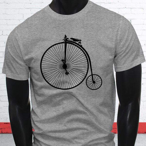 Fast Big Bike Tricycle Unique Brakes 1800s High Wheel Bicycle Mens Gray T-ShirtFunny free shipping Unisex Casual gift