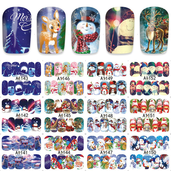 Neue Weihnachten Schneemann Nail Wraps Aufkleber Tipps Manicura Nagel Liefert Aufkleber Neue Wasser Transfer Aufkleber Winter Charaktere 16 CM * 25,5 CM Niedlich