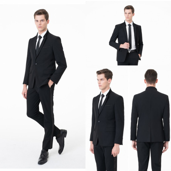 One Button Black Men Wedding Tuxedos Suits Formal Wear Best-men Groom Slim Fit Suits Business Official Wear (Jacket+Pants) ST0001
